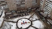 административное здание : Top view of childrens playground in courtyard of residential building in Moscow, Russia