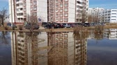 lodo : Moscow, Russia-April 22.2018. Puddles after melting snow in early spring in Zelenograd