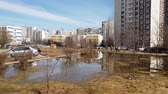 springtide : Moscow, Russia-April 22.2018. Puddles after melting snow in early spring in Zelenograd