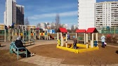 habitação : Moscow, Russia-April 22.2018. Children playing on playground in Zelenograd