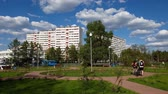 bruk : Moscow, Russia - May 08. 2018. cityscape on Sosnovaya Alley in Zelenograd