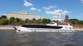vessel traffic : Moscow, Russia - May 12. 2018. Radisson Royal steam-ship fleet sails past Kremlin