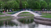 křoví : Moscow, Russia - May 15. 2018. bridge on Mikhailovsky Pond in Zelenograd