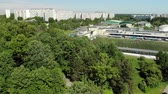olympic park : Top view on football field of school Olympic reserve in Zelenograd in Moscow, Russia Stock Footage
