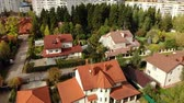 çini : top view of a beautiful cottage village in autumn Stok Video