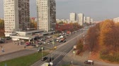 Moscow, Russia - October 20. 2018. Flight over central avenue in Zelenograd Stock mozgókép