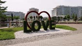 Sochi, Russia - May 31. 201 Landscape sculpture in shape of heart and word love at three-star hotel Sochi Park