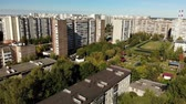 administrativo : Sleeping area with residential buildings, football field and childrens playgrounds in Moscow, Russia