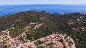 Aerial view of the scenic places with a view of the hills, valleys and the sea with beaches. Spain, Catalonia