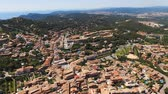 Aerial view of the scenic places with a view of the valleys, mountains and the sea with beaches. Spain, Catalonia