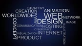 web design : Web design tag word cloud animation - blue background. Loop able. 4k UHD.