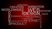 web design : Web design tag word cloud animation - red background. Loop able. 4k UHD.