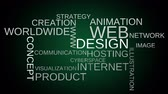 web design : Web design tag word cloud animation  green background. Loop able. 4k UHD.
