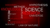 word cloud : Science knowledge tag word cloud  red background. Loop able. 4k UHD. Stock Footage