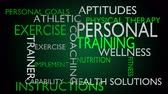 strategy : Personal training & instructions word cloud - green variant, loop able, 4k UHD Stock Footage