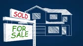sale : Interactive whiteboard illustrations of real estate related images Stock Footage