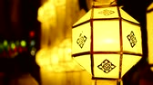 loi krathong : Asian lanterns during a religious festival Stock Footage