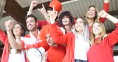 megafon : Football supporter friends cheering and watching soccer match at the intenational stadium Stok Video