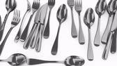 steel : Computer generated, Eatery untensils, kitchen tools, spoon, knife and fork. Stock Footage