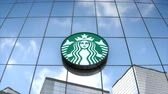 chain : Editorial use only, 3D animation, Starbucks logo on glass building.