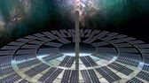 kitalálás : Artist concept space solar farm above earth. Stock mozgókép
