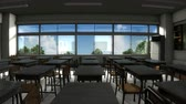 教師 : Window view of empty classroom 動画素材