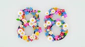 idade : Numerical digit floral animation, 86.