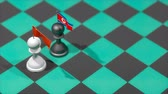invasione : Chess Pawn with country flag, China, North Korea. Filmati Stock