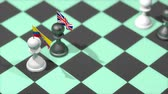 negotiation : Chess Pawn with country flag, Ecuador, United Kingdom. Stock Footage