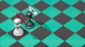 schaakstuk : Chess Pawn with country flag, North Korea, South Korea. Stockvideo