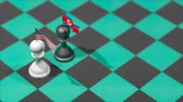 invasione : Chess Pawn with country flag, United states, North Korea. Filmati Stock