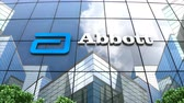 şirket : May 2019, Editorial use only, 3D animation, Abbott Laboratories logo on glass building. Stok Video