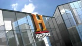 televizyon : April 2019, Editorial use only, 3D animation, History Channel logo on glass building. Stok Video