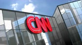 televizyon : April 2019, Editorial use only, 3D animation, Cable News Network, CNN logo on glass building.