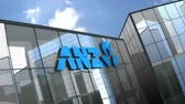 şirket : August 2019, Editorial use only, 3D animation, Australia and New Zealand Banking Group Limited logo on glass building.