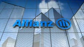 şirket : September 2017, Editorial use only, 3D animation, Allianz SE logo on glass building.