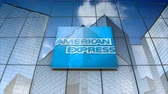 şirket : September 2017, Editorial use only, 3D animation, American Express Company logo on glass building.