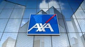 sigorta : December 2017, Editorial use only, 3D animation, AXA logo on glass building.