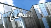 výrobce : June 2018,Editorial use only, 3D animation, Boeing logo on glass building.