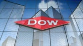 ham : December 2017, Editorial use only, 3D animation, The Dow Chemical Company logo on glass building. Stok Video