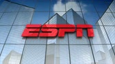televizyon : December 2017, Editorial use only, 3D animation, ESPN Inc. logo on glass building. Stok Video
