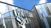 şirket : June 2018, Editorial use only, 3D animation, The Goldman Sachs Group Inc. logo on glass building.
