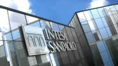 şirket : June 2018, Editorial use only, 3D animation, Intesa Sanpaolo logo on glass building.