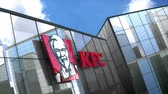 yiyecek ve içecek : Editorial use only, 3D animation, KFC logo on glass building.