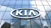 výrobce : May 2018, Editorial use only, 3D animation, Kia Motor Corporation logo on glass building.