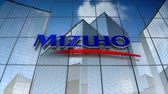 blahobyt : December 2017, Editorial use only, 3D animation, Mizuho Financial Group, Inc. logo on glass building.