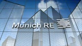 servis : December 2017, Editorial use only, 3D animation, Munich Reinsurance Company logo on glass building. Stok Video