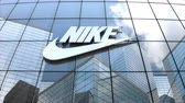 sport kleding : Editorial use only, 3D animation, NIKE logo on glass building.