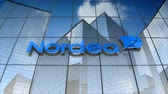 servis : December 2017, Editorial use only, 3D animation, Nordea Bank AB logo on glass building.