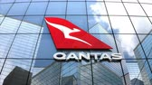 redakční : May 2018, Editorial use only, 3D animation, Qantas Airways logo on glass building.